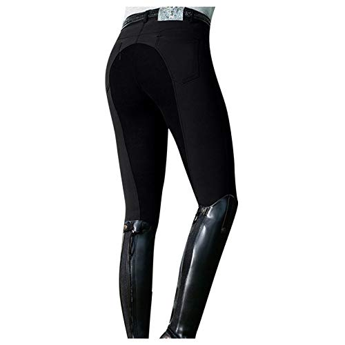 Ikevan Women Knee Patch Equestrian Breeches, Pocket Active Schooling Horse Riding Pant Black