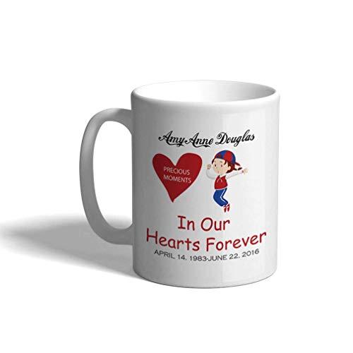 Taza de café personalizada de cerámica de 11 onzas Memorial Precious Moments. en la taza de té del día de los caídos en nuestros corazones