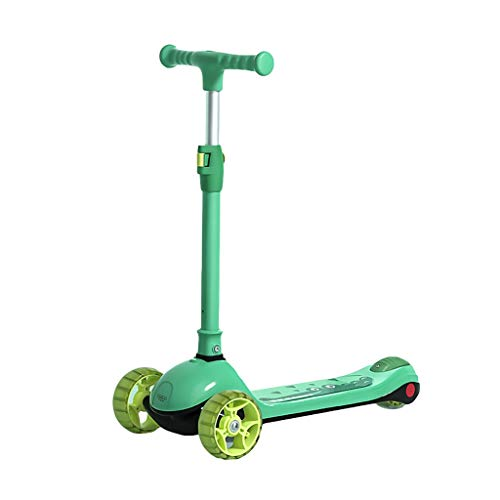 ZHIHUI Scooter Patinete Patada Plegable Scooter Muchachas y Niños Edad 2-14 Altura Ajustable Lean to Steer PU Flashing Wheels Scooter Scooter (Color : Green)