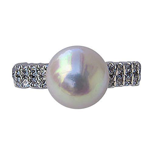 真珠の杜 パール リング 指輪 あこや本真珠 9mm ホワイト系 シルバー SV キュービックジルコニア 16石 r-kom-469h_080 8号