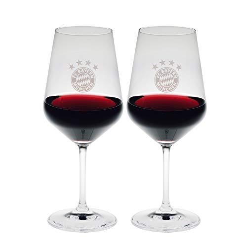 Bayern München Weinglas 2er-Set, Glas, Schoppen kompatibel FCB - Plus Lesezeichen I Love München