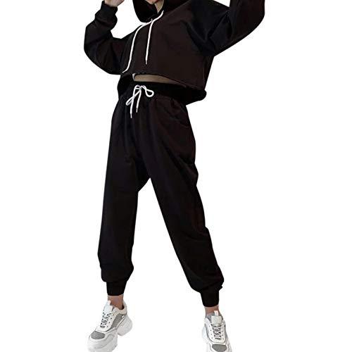 Janly Clearance Sale Conjunto de trajes y conjuntos de manga larga para mujer, multicolor, 2 piezas, cuello redondo, blusa de manga larga+pantalones casual, para invierno Navidad (negro/XXL)