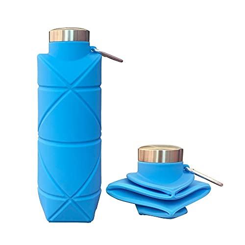 DMDIANZI Botellas de Agua Plegables, Botella Deportiva de Silicona Plegable Ligera, Botellas de Agua a Prueba de Fugas para Acampar al Aire Libre, Senderismo, Botella portátil sin BPA con mosquetón