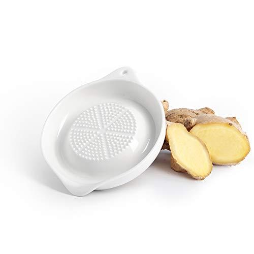 Sweese Rallador de cerámica para jengibre y ajo, 803.101, rallador de frutas, rallador de wasabir, rallador de especias con patas antideslizantes, 11 x 9 x 2 cm, color blanco