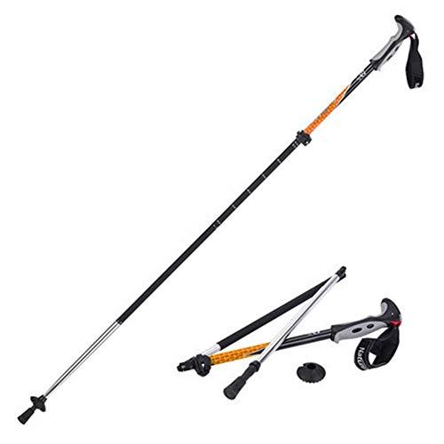 Bâtons de Marche Pliable, Bâtons de Randonnée Téléscopique en Aluminium Ultra Léger pour Trekking Voyage Sport en Plein Air,Orange