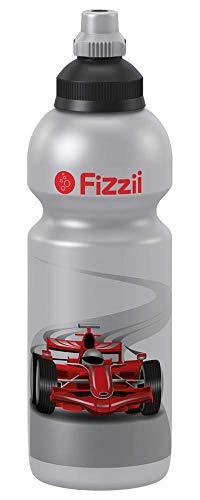 Fizzii Kinder- und Freizeittrinkflasche 600 ml (auslaufsicher bei Kohlensäure, schadstofffrei, spülmaschinenfest, Motiv: Rennwagen)