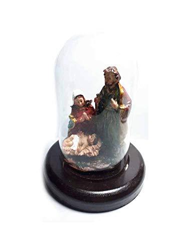 Generisch erhalten 3 Stück Krippe komplett aus Glocke Glas Art. 2 10 x 5,5 cm Basis Holz d. 9 cm nativ, Kunstharz, Maria Josef, gesu, Figuren aus Krippe