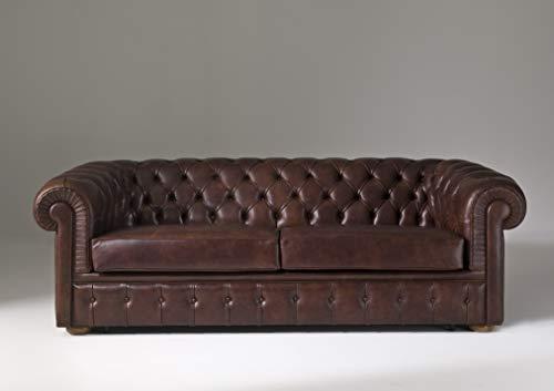 JVmoebel Chesterfield - Sofá acolchado de 3 plazas + función de cama de piel