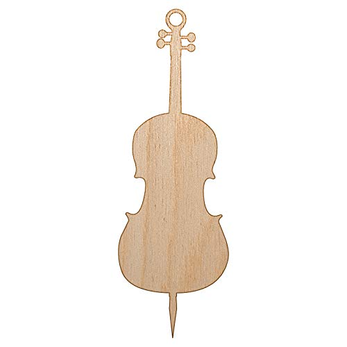 Sniggle Sloth Cello Music Instrument Silhouette Unfinished Craft Wood Holiday Christmas Tree DIY Pre-Drilled Ornament
