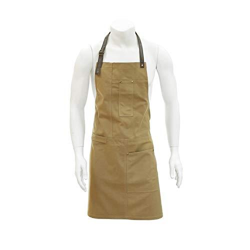 FUN FAN LINE - Delantal de Cocina 100% algodón con Bolsillos con Costuras reforzadas y Cintas de Cuello y Cintura Ajustables de Polipiel.