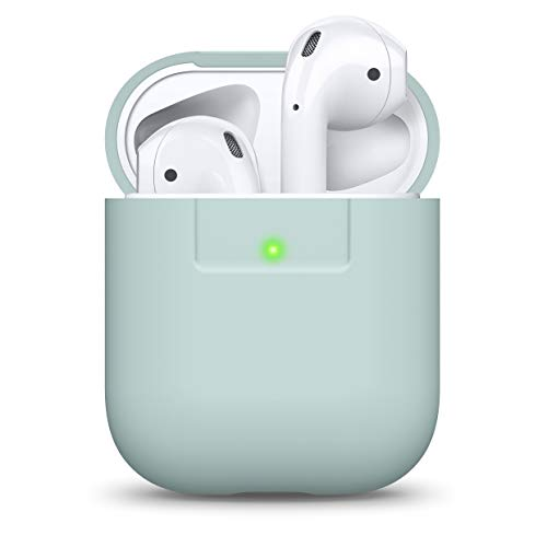 elago Silikonhülle Kompatibel mit AirPods Hülle 1 & 2 - Silicone Case, Unterstützt Kabelloses Laden, Stoßfeste Schutzhülle, Perfekter Sitz (Baby Mint)