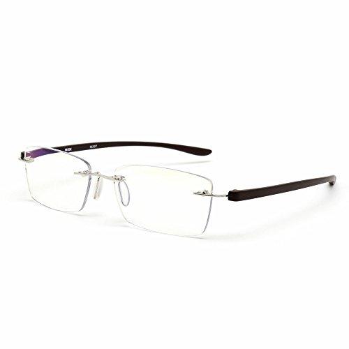 MIDI-ミディ おしゃれ 老眼鏡 ブルーライトカット 紫外線カット ダークブラウン 度数+2.50 ふちなし 軽量 (M-307N,C3,+2.50)