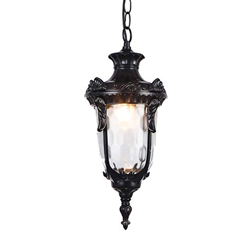 Contemporary Collection Exterior Ceiling Pendant Lamp Vintage Industrial Outdoor Hanging Lantern with Clear Glass Courtyard Chandelier for Villa Gazebo Grape Frame (Color : Black-S)