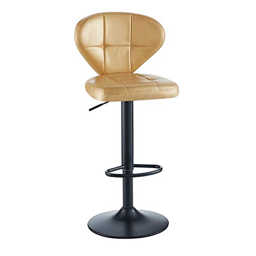 XEWNEGTZI Breakfast Bar Chair Lift The Bar Stool, with PU Thick Cushion and Pedals, Portable Rotating Counter Chair, Easy to Assemble, Load 120kg (6 Colors)(Color:Golden)