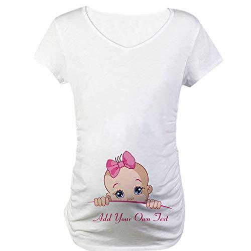 Snakell Mutterschaft T-Shirt Damen Sommer Kurzarm Umstandsmode T-Shirts Cute Mutterschaft Kleidung Lustige Witzig Spähen Baby Gedruckt Baumwolle Schwangerschaft Tops