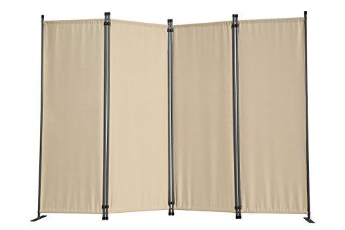 Angel Living Paravent 4tlg Sichtschutz,Faltbildschirm Raumteiler Sichtschutz aus Stahl und Polyester (Beige)