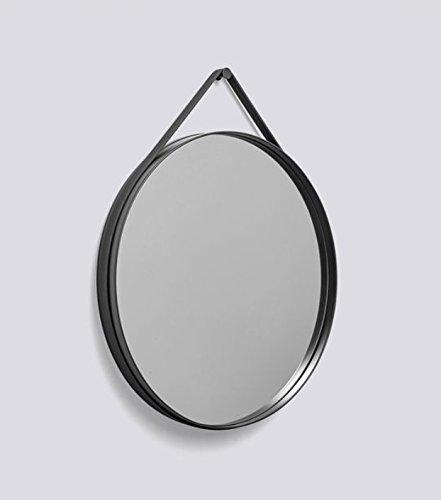 HAY, Strap Mirror, D:70 anthrazit, wandspiegel, Spiegel mit silikonband & wandhaken