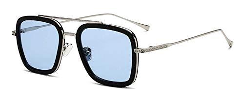 LHSDMOAT Kinder Teen Sonnenbrille Retro Klassiker Tony Stark Edith Sonnenbrille Platz Metallrahmen dekorative Brille für Age 6+