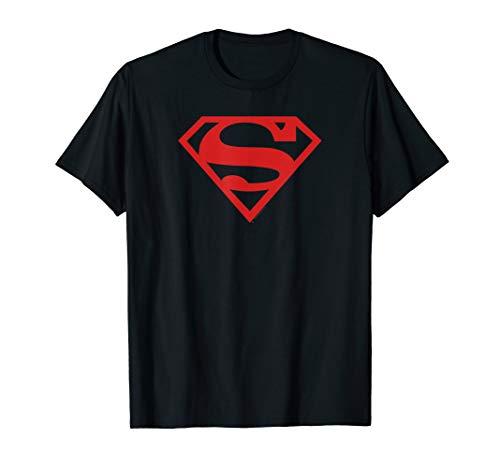 Superman Red on Black Shield T Shirt