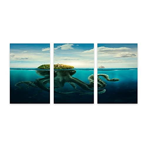 PATINISA Fantasa Spooky Island Seascape Pulpo gigante disfrazado en la superficie del ocano,Painting Cuadro sobre Lienzo Canvas Wall Art para Colgar Impresin de la Lona 30x45cm