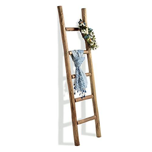 FUIN 5 Ft Wood Decorative Wall Leaning Blanket Ladders Bathroom Storage Quilt Towel Display Rack Shelf Holder Rustic Farmhouse, Brown