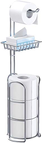 Upgrade Toilet Paper Holder Stand, Chrome Freestanding Toilet Paper Roll Holders with Shelf, Bathroom Tissue Storage Rack