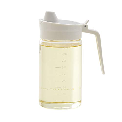 KEYUCA (ケユカ) Relio Ⅳ オイルボトル ホワイト (450ml / 液体調味料入れ) 耐熱ガラス 液だれ防止機能付き 50ml刻みの目盛り付き 密封タイプ
