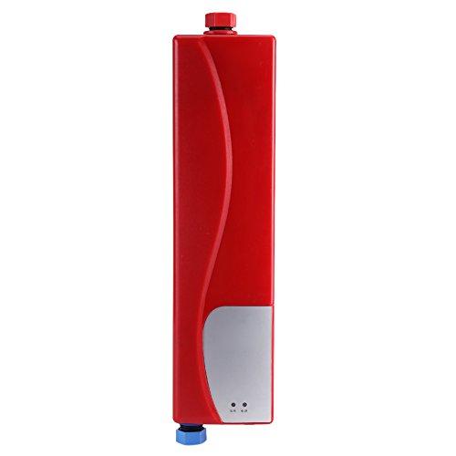 Mini calentador eléctrico instantáneo, 3000 W, calentador de agua eléctrico, portátil, cálido, instantáneo, para cocina, baño, 220 V, mini calentador automático (rojo)