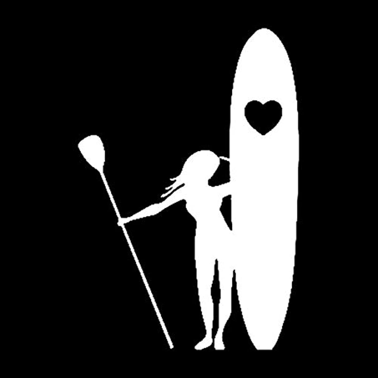 Scrapbooking Stickers & Sticker Machines, Vinyl Decal Sticker, 1PC 11.5cmx16.7cm Girl Stand Up Paddle Boarding Heart Love Stickers Car Decal Stickers - White