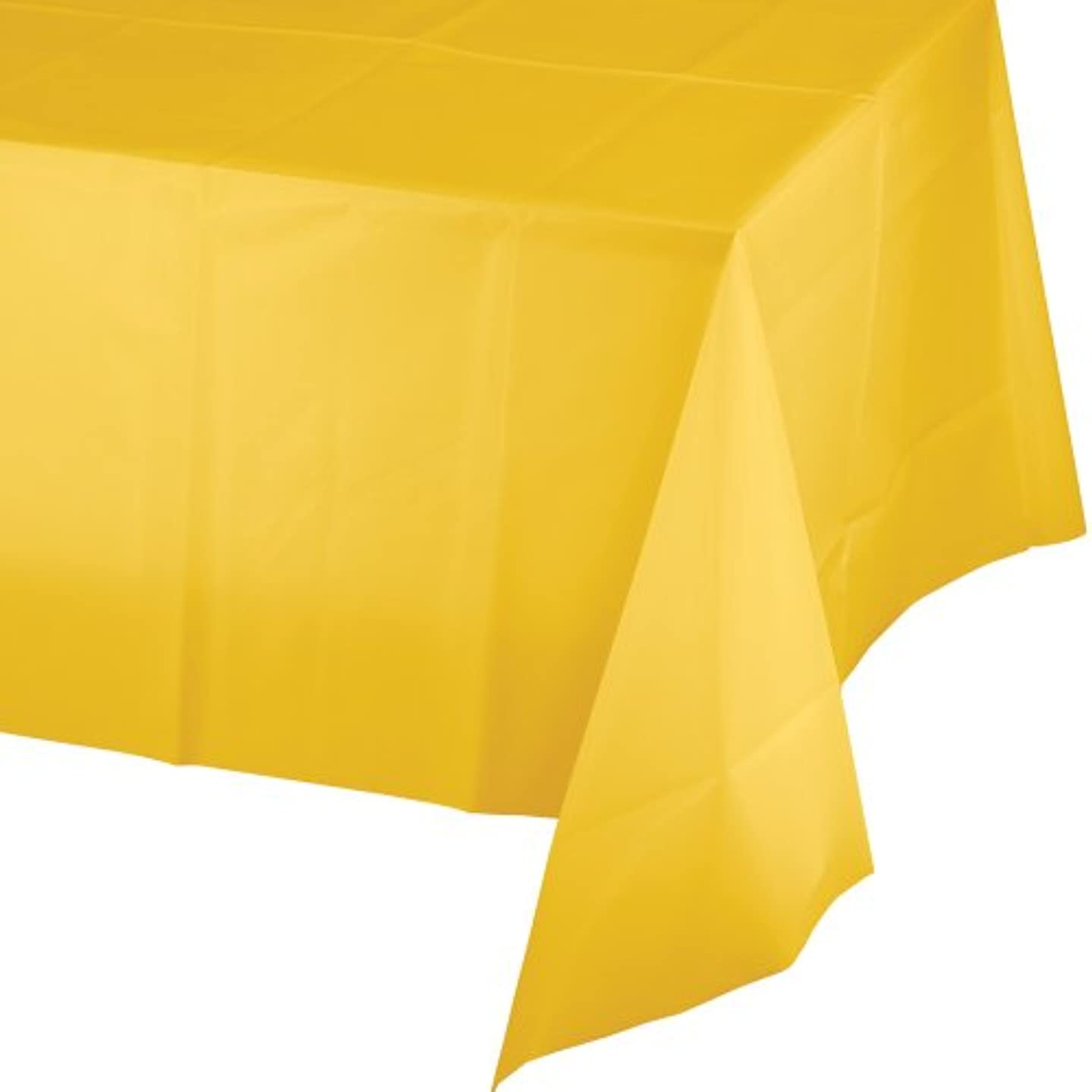 Creative Converting Touch of Color Plastic Table Cover, 54 by 108-Inch, School Bus Yellow bownggiwxd499239