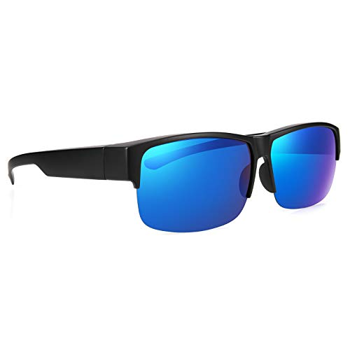 Br'Guras 眼鏡OK! メガネの上から掛けられるオーバーサングラス メンズ レディース 兼用 ハーフリムタイプ 偏光 UV400 紫外線 99.9%カット 眼鏡+ケース+眼鏡拭き+ソフトケース+ストラップ 5点セット 4タイプ選択可 …