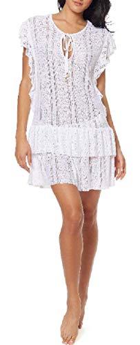 Jessica Simpson Crochet Waist-Frill Ruffle Detail Tunic Cover-up - White XL