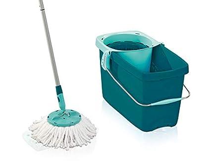 Leifheit Set de fregona rotatoria Clean Twist Disc Mop, cubo y fregona giratoria con palo extensible, set de limpieza con regulación de la humedad