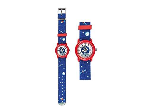 Kinder Armbanduhr Astronaut blau mit Stoffarmband