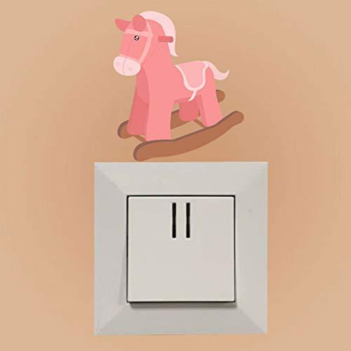 YCEOT Roze Trojaanse Paard schommelstoel Kids Kamer Slaapkamer Home Decor PVC Muursticker Sticker Decal