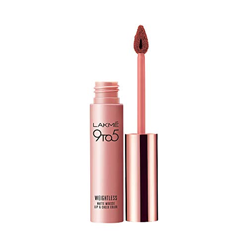 Lakme 9 to 5 Weightless Matte Mousse Lip & Cheek Color - Burgundy Lush, 9g
