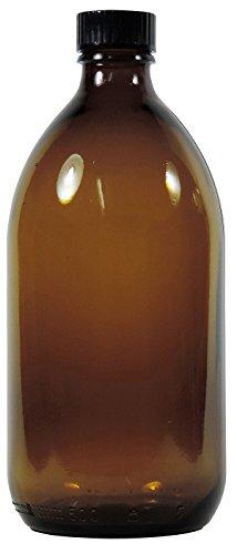 Viva Haushaltswaren - 1 x Enghalsflasche 500 ml aus Braunglas mit Verschluss, als Apothekerflasche, Laborflasche & Medizinflasche verwendbar - Made in Germany & BPA frei (inkl. Beschriftungsetikett)