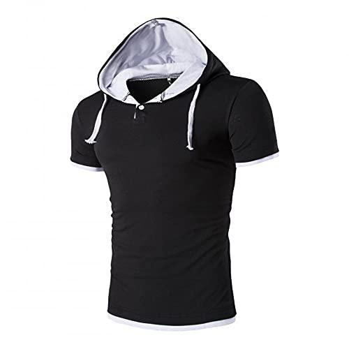 Capucha T-Shirt Hombres Verano Slim Fit Botón con Cordón Tapeta Manga Corta Hombres Camiseta Deporte Casual Hombres Streetwear Entrenamiento Correr Sudadera con Capucha Hombre H-Black(B) 5XL