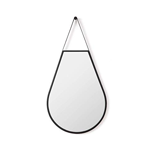 Aspecto - Espejo de Pared Colgante con Forma de lágrima, Color Negro, 51 x 98 cm