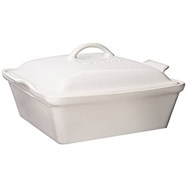 Le Creuset Heritage Stoneware 2-1/2-Quart Covered Square Casserole, White