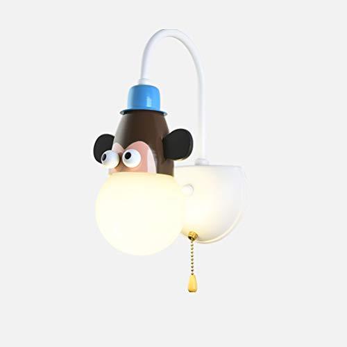 Kinderzimmer Wandleuchte mit Zugschalter, Moderne Design Nachttisch Wandlampe Kinderlampe Innen Dekoration Wandbeleuchtung für Jungen Mädchen Schlafzimmer Klein Nachtlicht E27 Fassung