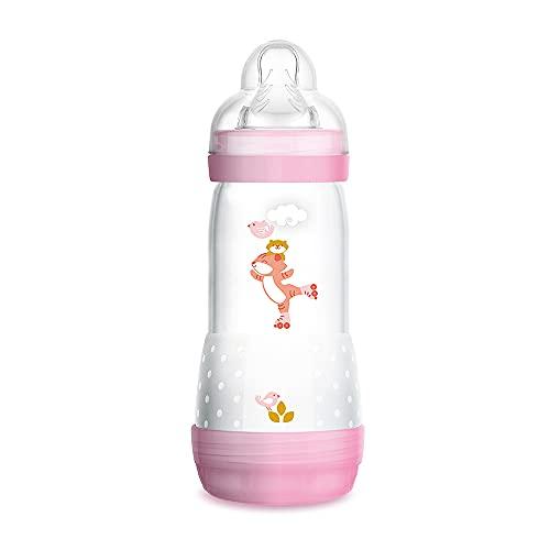 MAM Biberón Easy Start Anti-Colic A124, Biberón Anticólicos patentado con Tetina de Silicona SkinSoftTM ultra suave, 320ml, para Bebés a partir de 4 meses, Rosa, 1 unidad, autoesterilizable en 3 min