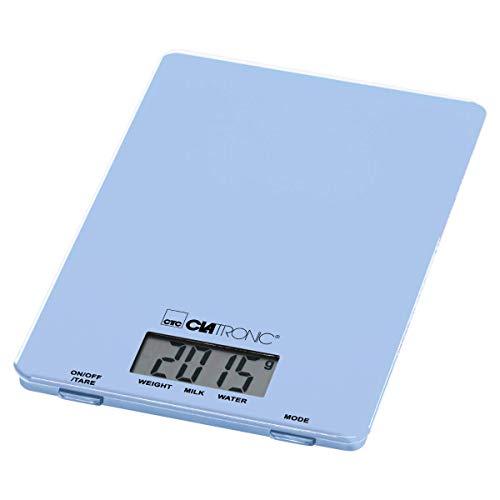 Clatronic KW 3626 Balance culinaire extra plate avec plateau en verre et fonction tare Écran LCD Bleu 5 kg
