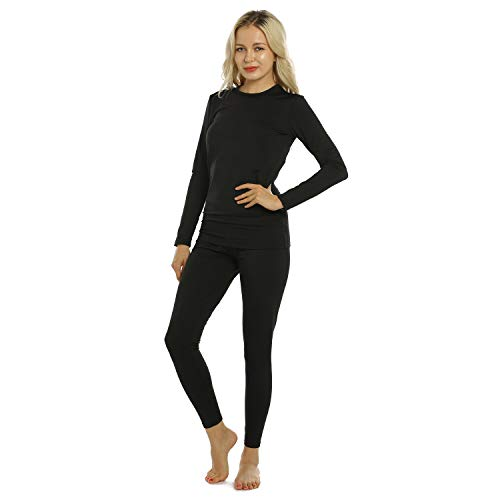 ViCherub Womens Thermal Underwear Set Long Johns Base Layer with Fleece Lined Ultra Soft Top & Bottom Thermals for Women Black Large
