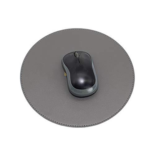 ESCOCO Mauspad, PU-Leder Ultradünnes Wasserdichtes Mauspad, runde Mausmatte für Büro/Zuhause, beidseitig (Grau/Schwarz)