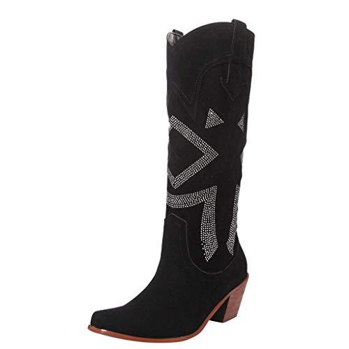 Damenmode Quadratische Absätze Slip-On Kristall Stiefel Schuhe YunYoud Lässige Vintage römische Stiefel Frauen günstige Westernstiefel lang stulpenstiefel
