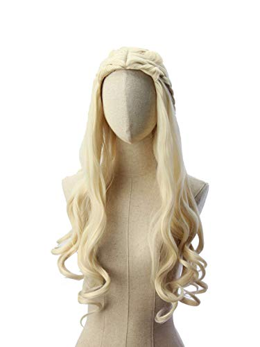 HANGCosplay Long Curly Wavy Blond Wig for Costume Party and Daily Use Mother of Dragons Daenerys Targaryen Cosplay
