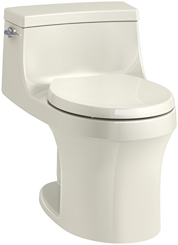KOHLER K-4007-96 San Souci Round-Front 1.28 GPF Toilet with AquaPiston Flushing Technology and Left-Hand Trip Lever, Biscuit, 1-Piece