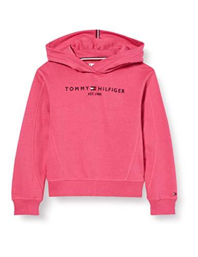 Tommy Hilfiger Essential Hooded Sweatshirt Sudadera, Rojo (Blush Red Xif), 10 años (Talla del Fabricante: 10) para Niñas