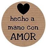 200 etiquetas adhesivas kraft Hecho a mano con Amor (35 mm)
